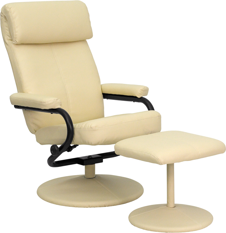 Modern Leather Recliner Lounge Chair & Ottoman Set