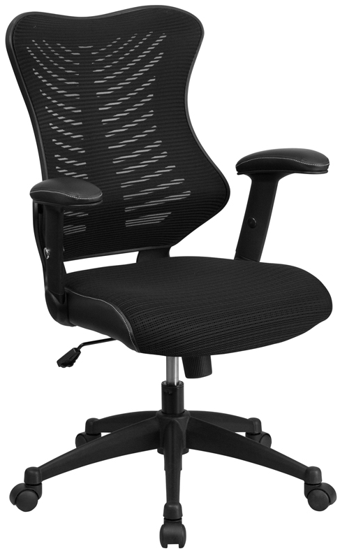 Mid Back Mesh Office Swivel Chair With Lumbar Support Height Adjustable Arms