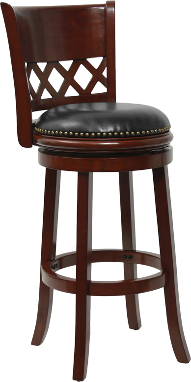wood bar height stool with black leather swivel seat diamond back