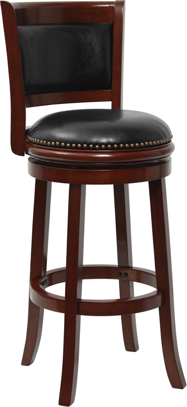Bar Height Wood Bar Stool with Black Leather Swivel Seat  : ta 61029 chy gg from ebay.com size 365 x 794 jpeg 113kB