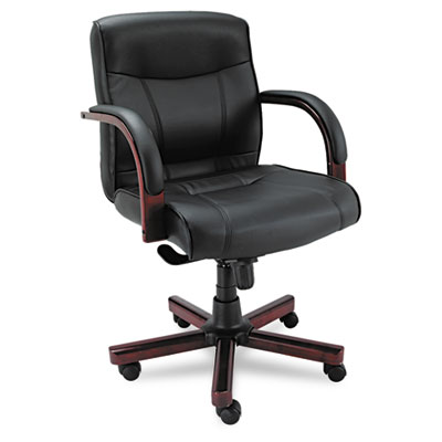 Alera Mid-Back Black Leather Executive Office Chair with Knee Tilt & Wood Trim