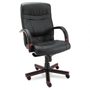 Alera High Back Black Leather Executive Office Chair with Knee Tilt & Wood Trim