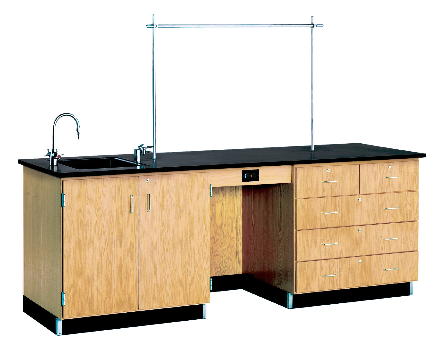 Diversified Woodcrafts 8' Instructor's Desk with Phenolic Resin Top & Fixtures