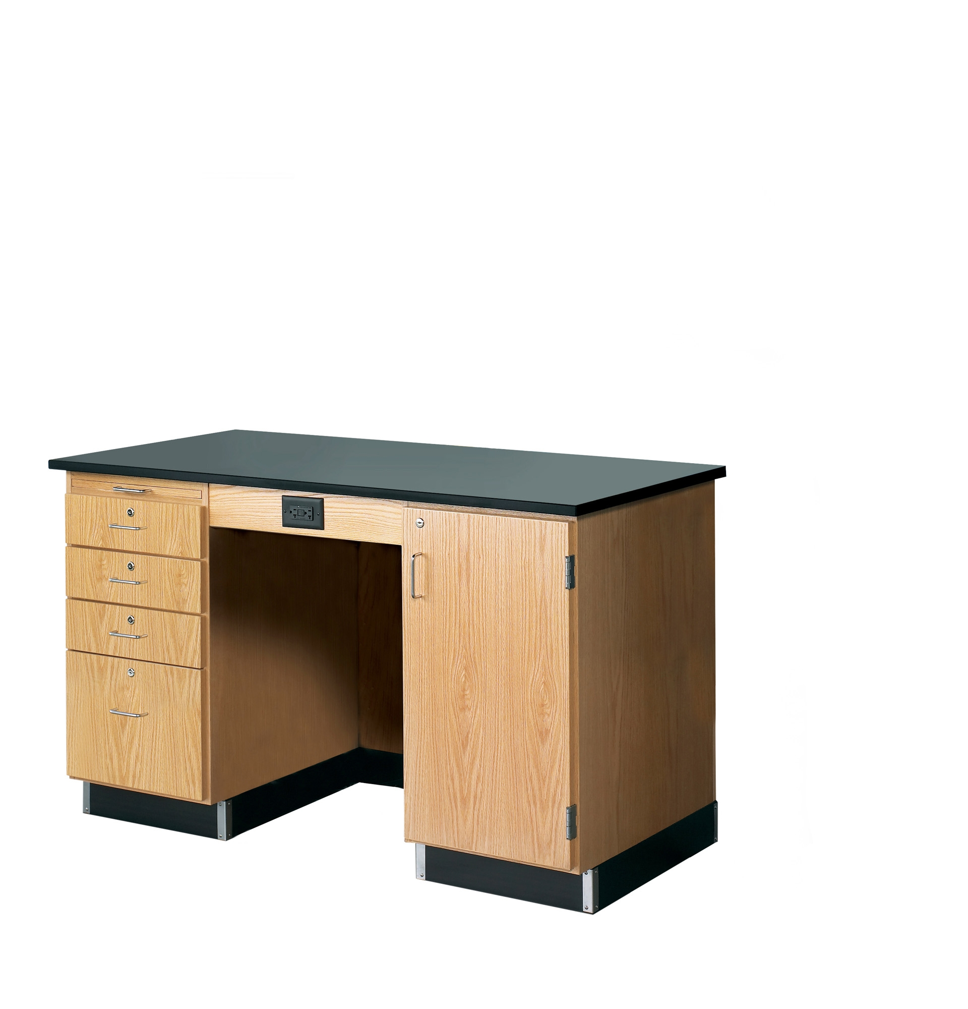 Diversified Woodcrafts 5' Instructor's Desk with Drawers & Cabinet - Epoxy Top