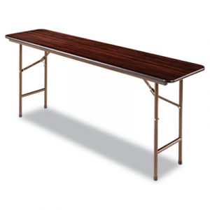 "Alera 1200 lb Capacity Commercial Mahogany Laminate 18"" W x 72"" L Folding Table"