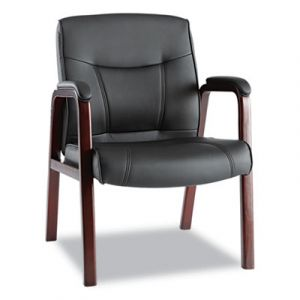 Alera Black Leather Guest Side Receiption Chair with Mahogany Wood Trim