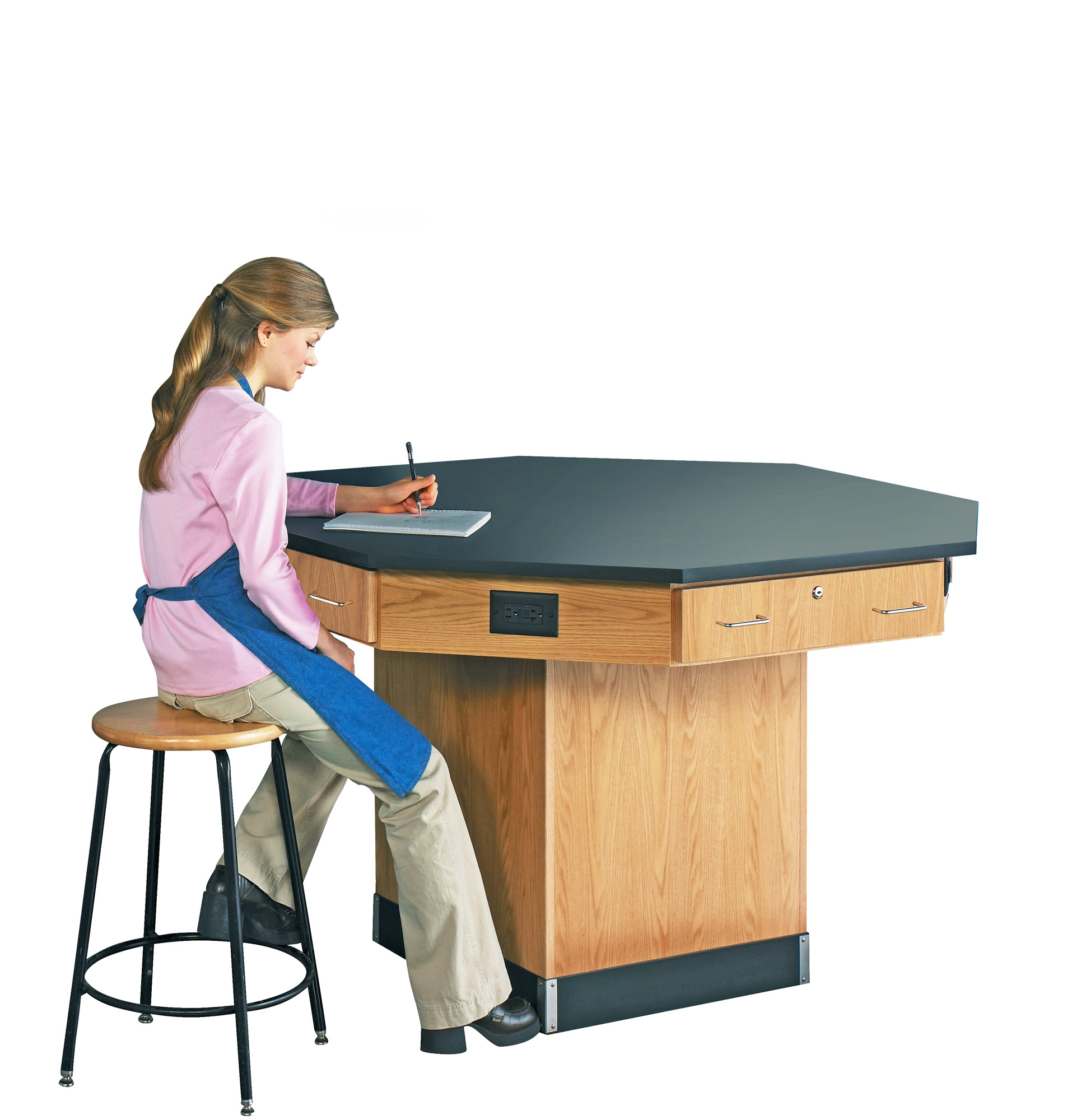 Diversified Woodcrafts Octagon Workstation with Pedestal Base - Epoxy Top