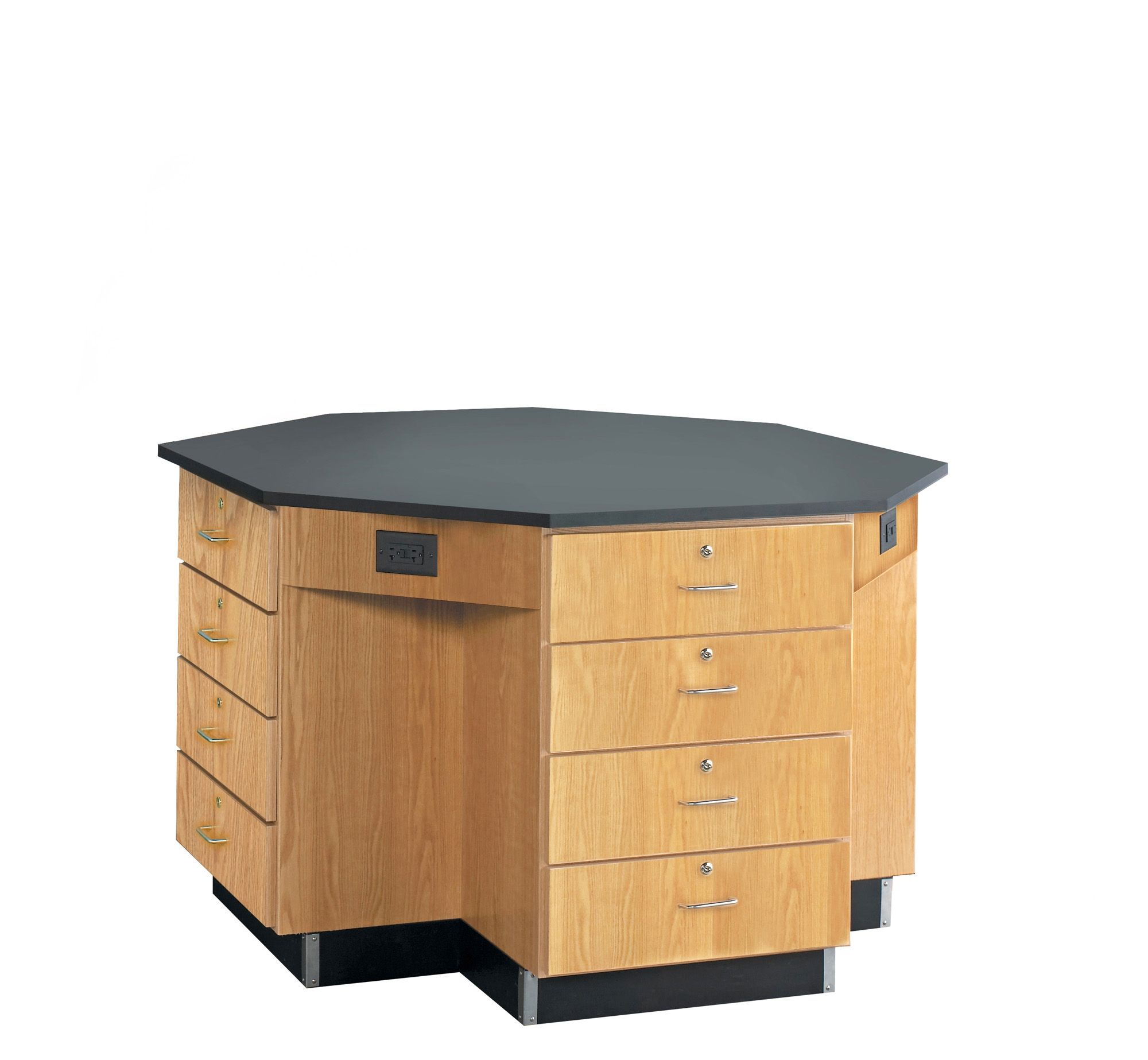 Diversified Woodcrafts Octagon Workstation with Drawer Base - Epoxy Top