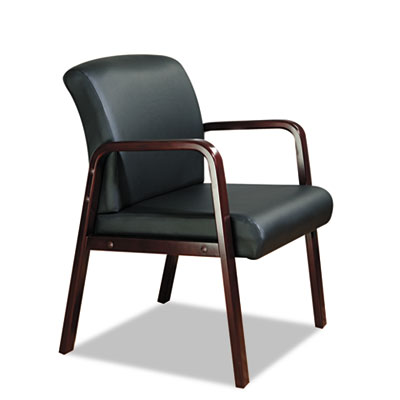 Alera Black Leather Designer Reception Guest Chair with Wood Frame