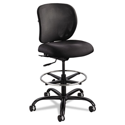 Safco Heavy Duty Black Fabric Drafting Stool with Lumbar Support