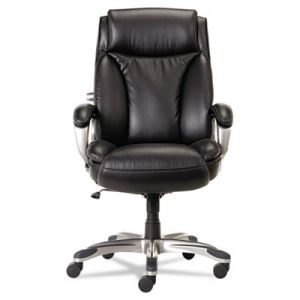 Alera Executive High-Back Leather Office Chair with Coil Spring Cushion & Adjustable Lumbar
