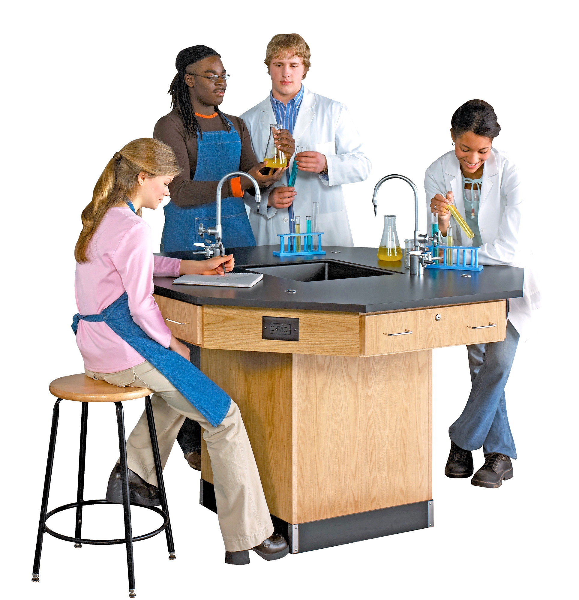 Diversified Woodcrafts Octagon Workstation with Pedestal Base & Fixtures - Epoxy Top