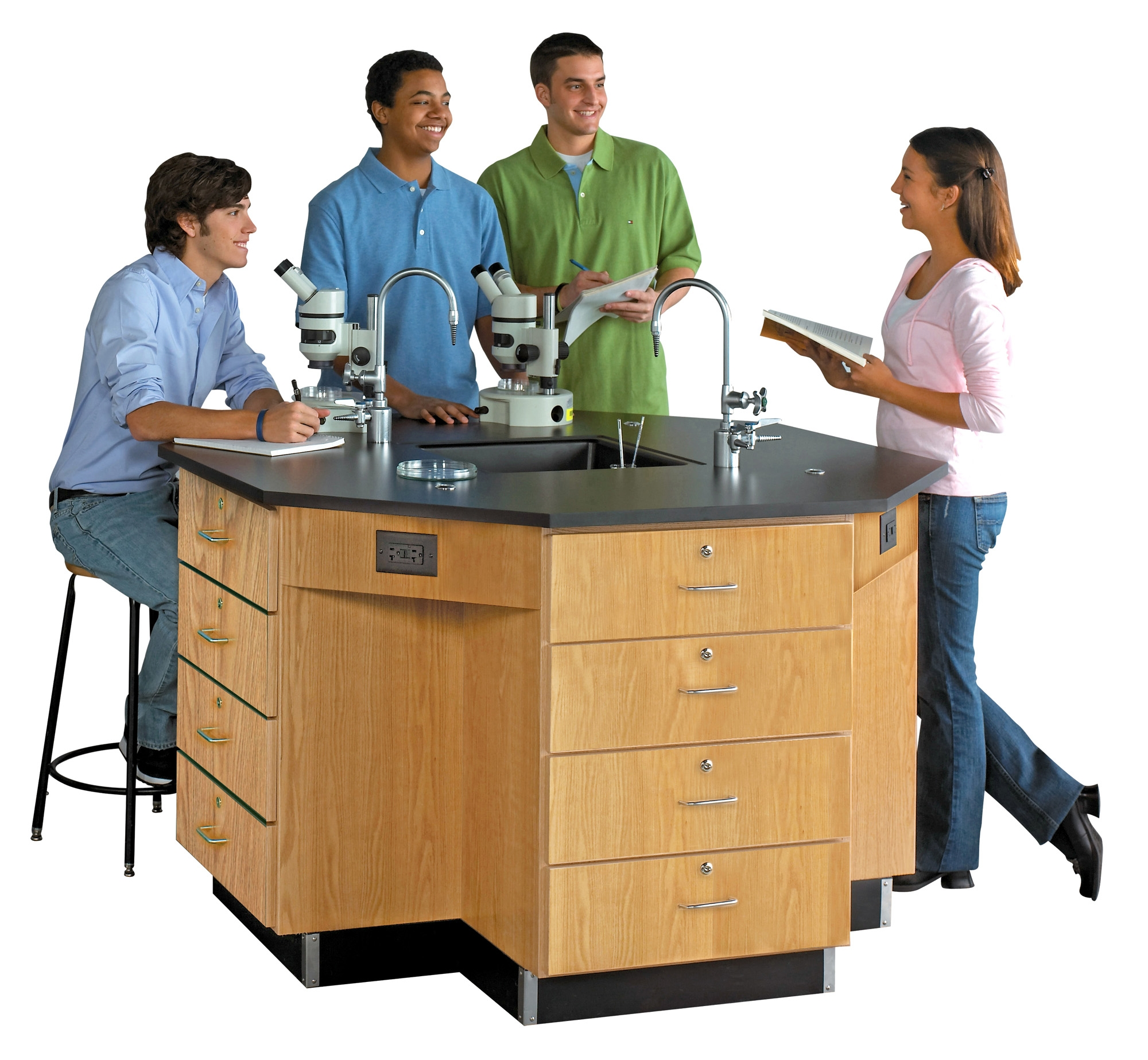 Diversified Woodcrafts Octagon Workstation with Drawer Base & Fixtures - Epoxy Top