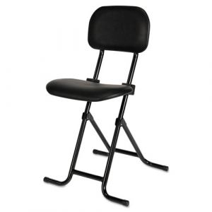 Alera Black Vinyl Seat Height Adjustable Multi-Functional Folding Stool
