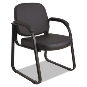 Alera Black Leather Reception Waiting Room Guest Chair with Sled base