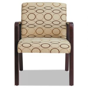 Alera Designer Reception Guest Chair with Wood Frame in Tan Accent Fabric