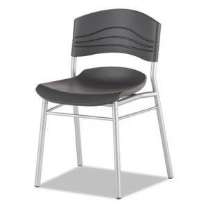 2 PACK Iceberg Graphite & Silver Plastic Cafe Chair