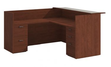 Amber Series Reception L-Desk with Glass Transaction Top