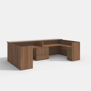 Cherryman Amber Series Reception Double L-Desk with Glass Transaction Top
