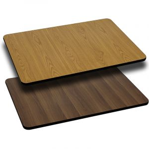 Pro-Tough Commercial Reversible Natural or Walnut Rectangular Table Top