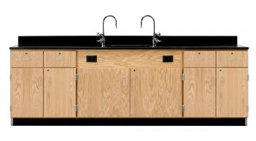 Diversified Woodcrafts Wall Service Bench with Cabinets & Drawers - Epoxy Top