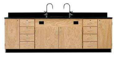Diversified Woodcrafts Wall Service Bench with Multi-Storage - Phenolic Top