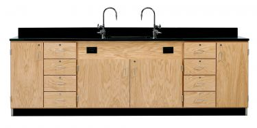 Diversified Woodcrafts Wall Service Bench with Multi-Storage - Epoxy Top