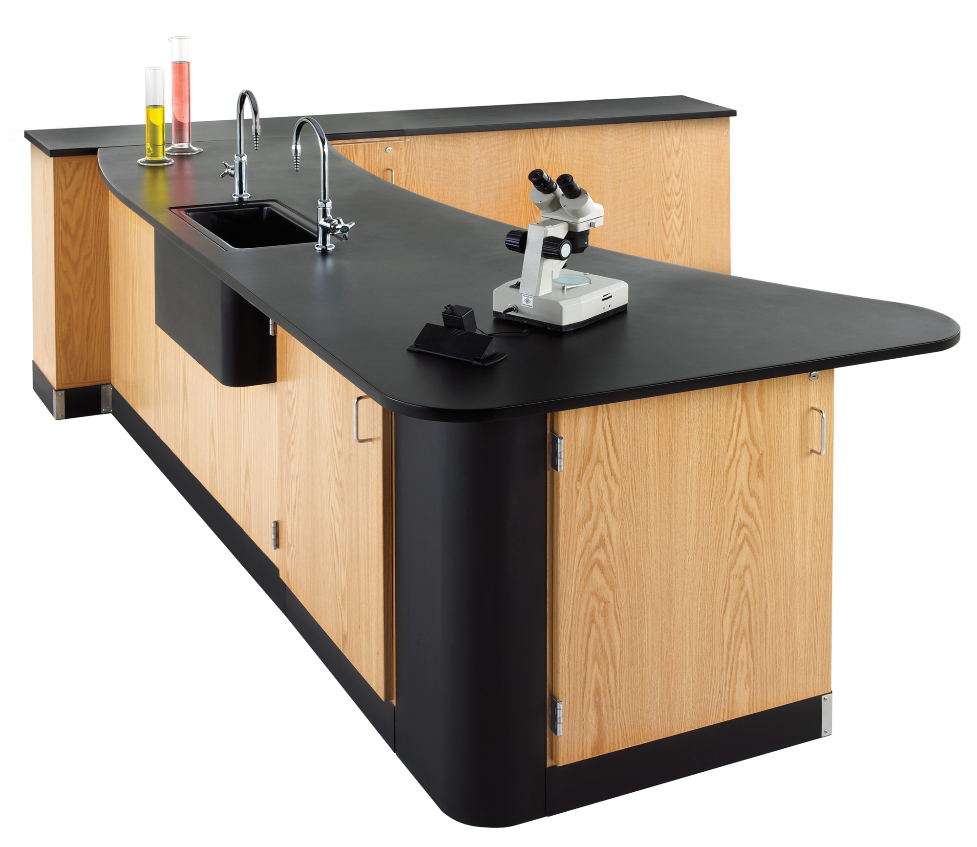 Diversified Woodcrafts Peninsula Workstation with Main Sink