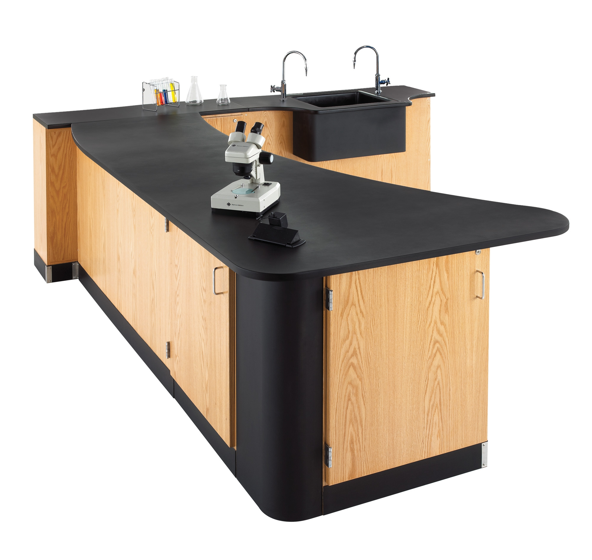 Diversified Woodcrafts Peninsula Workstation with Wall Sink