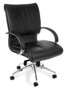 OFM Quincy Series Black Leather Executive Mid-Back Chair