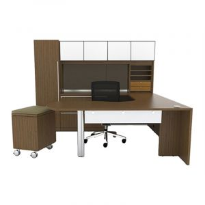"Cherryman Verde Series Arc U-Desk, 36"" Bridge, Glass Door Storage Hutch, Storage Tower, Mobile Pedestal, Lateral File, Left Configuration"