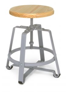 OFM Wood Finish Stool with Foot Ring