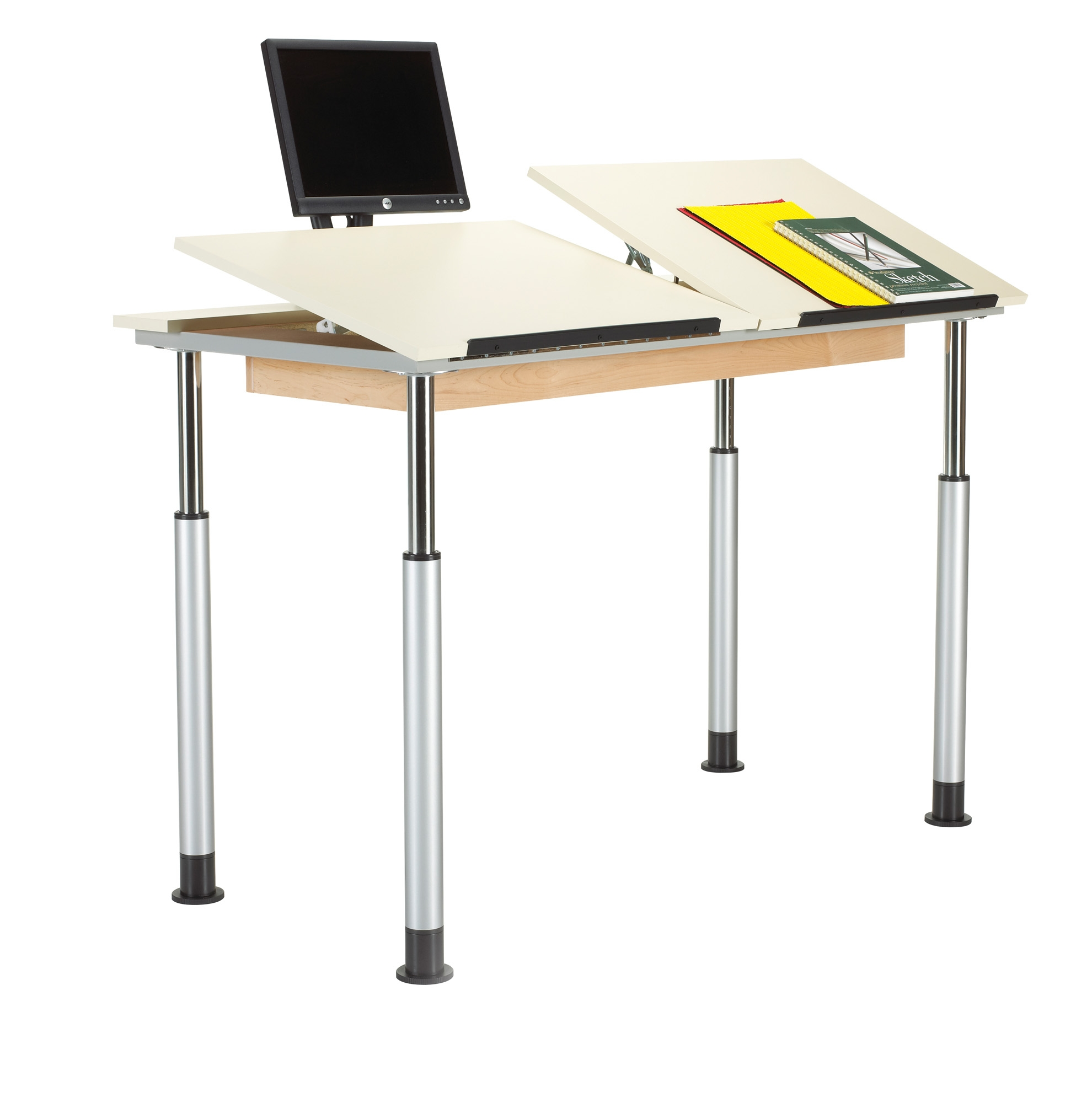 Diversified Woodcrafts Height Adjustable Drawing Table, Double Top with Rear Edge
