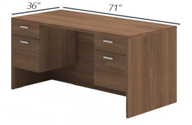 Amber Series Double Suspended Pedestal Desk-Large