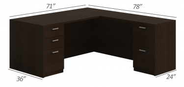 Amber Series Double Pedestal L-Desk-Large