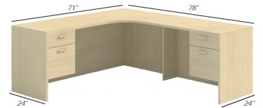 Amber Series Double Suspended Pedestal L-Desk Credenza, Curved Corner-Large