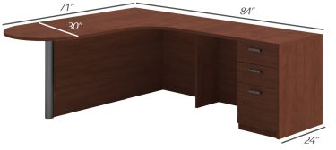 Amber Series Bullet L-Desk, Curved Corner-Large