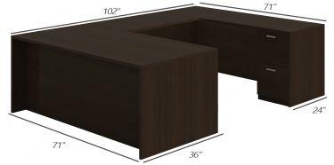 Amber Series Double Pedestal U-Desk-Large