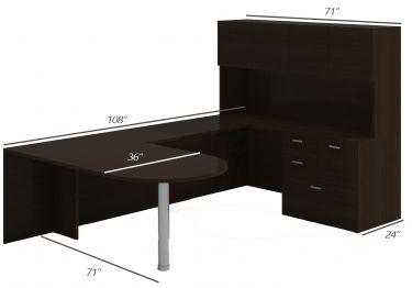 Amber Series Bullet Shape U-Desk with Multi-Storage & Hutch-X-Large