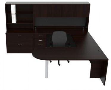 Cherryman Amber Series Bullet Shape U-Desk With Multi-Hutch & Lateral File - Left Configuration