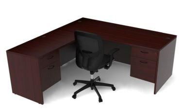 Amber Series Double Suspended Pedestal L-Desk