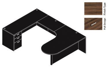 "Cherryman Amber Series 71"" Bullet Shape U-Desk With 35"" Bridge - Left Configuration"