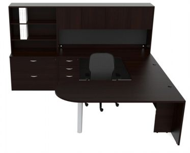 Cherryman Amber Series Bullet Shape U-Desk With Multi-Hutch & Lateral File - Left Configuration