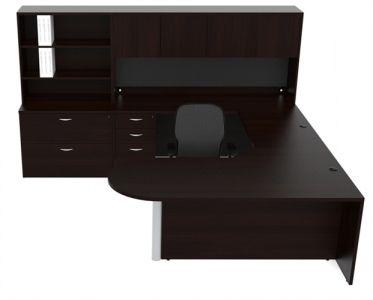 Cherryman Amber Series Panel Bullet Shape U-Desk With Multi-Hutch