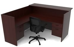 Cherryman Amber Series Reception L-Desk with Matching Transaction Top & Suspended Pedestals