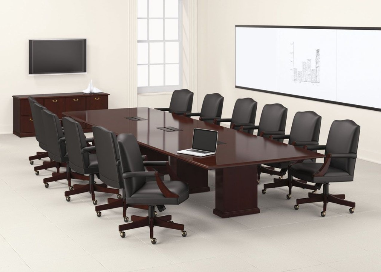 Barrington Wood Rectangular Conference Table with Panel Base