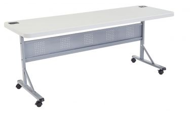 "National Public Seating Flip-N-Store Training Table with Wheel Casters-24"" W x 72"" L"