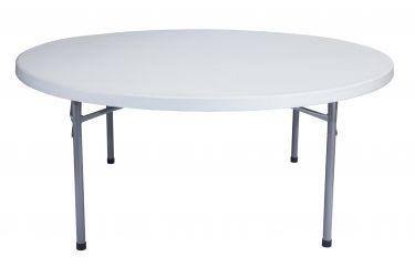 "30 PACK National Public Seating 71"" Round Light Gray Plastic Folding Table (6 Ft)"