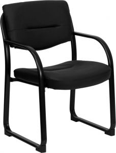Executive Black Leather Reception Side Chair with Sled Base