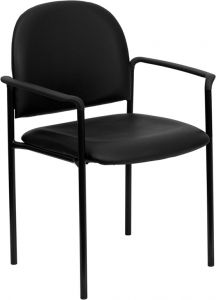 Vinyl Black Stacking Side Chair With Arms